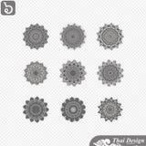 Set of  Line thai art design Stock Photos