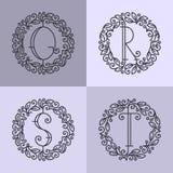 Set of line vector monograms Royalty Free Stock Photos