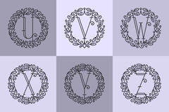 Set of line vector monograms Royalty Free Stock Images