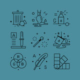 Set of line vectors icons in the flat style. Stock Images