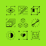 Set of line vectors icons in the flat style. Royalty Free Stock Photography