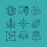 Set of line vectors icons in the flat style. Stock Image