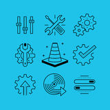 Set of line vectors icons in the flat style. Royalty Free Stock Photos