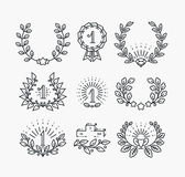 Set of line victory symbols and laurel wreaths. Hipster style winner objects Royalty Free Stock Photo