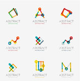 Set of linear abstract geometrical icons and logos. Letters, and modern symbols Stock Illustration