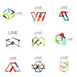 Set of linear abstract logos, connected multicolored segments lines in geometrical figures Royalty Free Stock Images