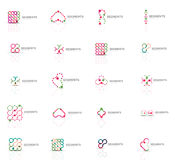 Set of linear abstract logos. Swirl, circle, infinity loop and other concepts. Logotype brand templates Stock Images