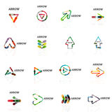 Set of linear arrow abstract logos, connected multicolored segments lines in directional pointer figures. Set of linear arrow abstract logos, connected Royalty Free Stock Photos