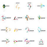 Set of linear arrow abstract logos, connected multicolored segments lines in directional pointer figures. Set of linear arrow abstract logos, connected Stock Photo
