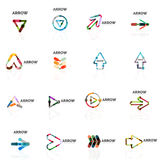 Set of linear arrow abstract logos, connected multicolored segments lines in directional pointer figures Royalty Free Stock Photo