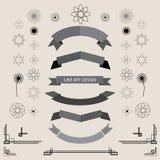 Set of linear art retro vintage design elements geometric shape. Vector illustration Stock Images