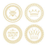Set of linear badges - premium quality and best choice. Hipster design templates - certificates and stamps Royalty Free Stock Images