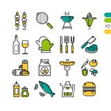 Set linear BBQ grill colored icons Stock Image