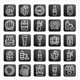 Set of linear beer icons on black square Royalty Free Stock Images