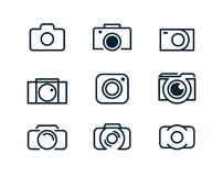 Set of linear camera icons. Logo of the photographer or camera. Linear style, minimalism. Set of linear camera icons. Logo of the photographer or camera. Line vector illustration