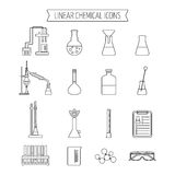 Set of linear chemical icons. Flat design. Isolated. Vector Stock Photos