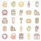 Set of linear color beer icons Royalty Free Stock Images
