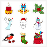 Set of Linear Colorful Christmas Icons Royalty Free Stock Photo