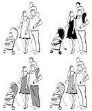 Family with children vector illustration