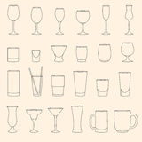 Set of linear drinkware Stock Photos