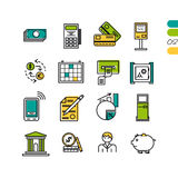Set linear financial colored icons Stock Image