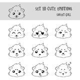 Set of 10 Linear Funny Girl Cavy Emoticons Royalty Free Stock Images