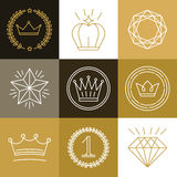 Set of linear gamification badges Stock Photos