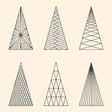 Set of linear graphic stylized Christmas trees Stock Photos