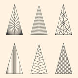 Set of linear graphic stylized Christmas trees Stock Photography