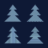 Set of linear graphic stylized Christmas trees. Stock Photo