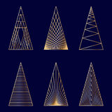 Set of linear graphic stylized Christmas trees Royalty Free Stock Photos