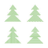 Set of linear graphic stylized Christmas trees Stock Photo