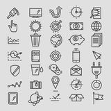 Set of linear hand drawn icons. concept business Stock Image