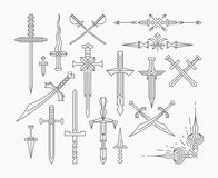 Set of linear historical weapon. Isolated vector line swords Stock Images