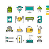 Set linear hotel service colored icons Royalty Free Stock Photography