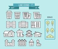 Set of linear house and building icons. Set of linear icons. There is an office, a shop, a house. There are badges as a gift. Bonus royalty free illustration