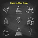 Set of linear icons. Children's toys collection of vector icons. Royalty Free Stock Images