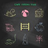 Set of linear icons. Children's toys collection of vector icons. Stock Images