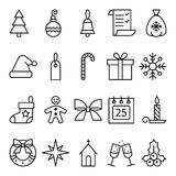 Set of linear icons Christmas and New Year Stock Image