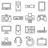 Set of linear icons computer and other equipment Stock Images