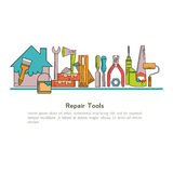Set of linear icons construction tools Stock Photos