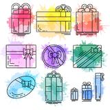Set of linear icons of festive gifts of various shapes with watercolor splashes. Vector element for your design Stock Photography