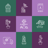 Set of linear icons for Flower or Florist shop. Stock Photos