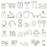 Set of linear icons about the Internet. On white background Royalty Free Stock Image