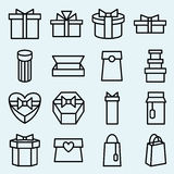 Set of linear icons packaging and gift box Royalty Free Stock Images