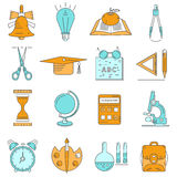 Set of linear icons about school and education. Of blue and orange on white background Stock Images