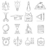 Set of linear icons about school and education. On white background Stock Images