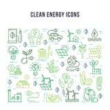 Set of linear icons on the theme of clean energy. royalty free illustration