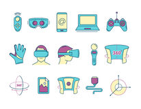 Set of linear icons virtual reality accessories. Set of color linear icons virtual reality accessories. 360 degree view. Rotation arrows. Gloves and helmet Stock Photos
