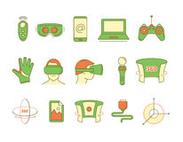 Set of linear icons virtual reality accessories. Set of color linear icons virtual reality accessories. 360 degree view. Rotation arrows. Gloves and helmet Royalty Free Stock Images